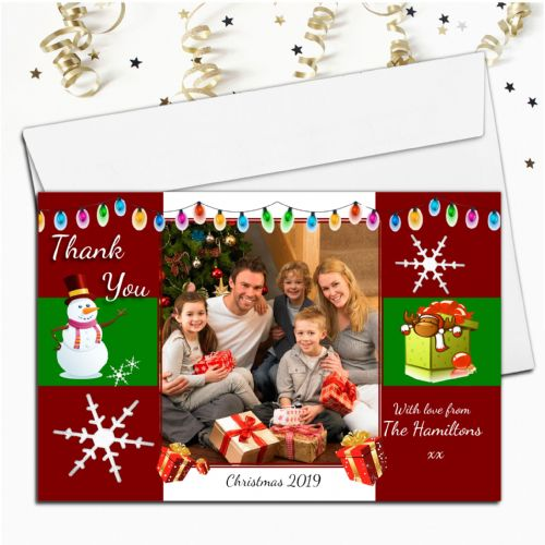 10 Personalised Christmas Xmas Gift Thank you PHOTO Cards N43